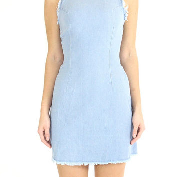 Denim Frayed Shift Dress