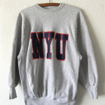 NYU Vintage Sweatshirt - New York University Throwback College Sweatshirt 90s Heavywieght Cotton Crewneck Jumper - Mens Medium