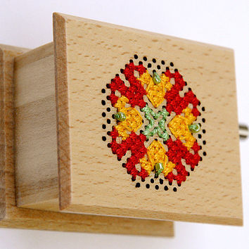 Gift for mom unique gift for mother Cross Stitch multicolor colorful Music Box Kalocsai Matyo red yellow gold light green pale nature