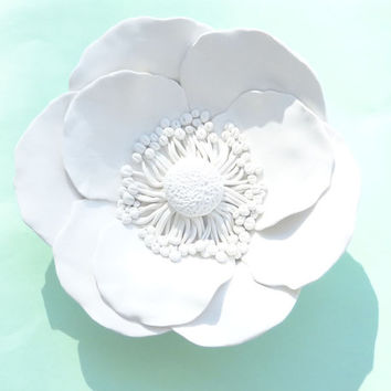 Poppy Flower Wall Sculpture - White Poppies