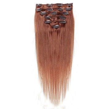 Best Sale Women Human Hair Clip In Hair Extensions 7pcs 70g 22inch Red