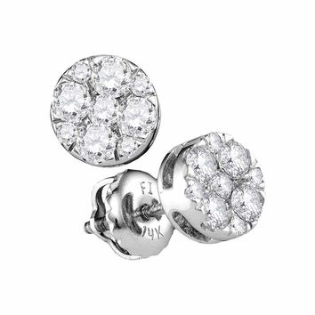 14kt White Gold Women's Round Diamond Flower Cluster Stud Earrings 1-2 Cttw - FREE Shipping (USA/CAN)