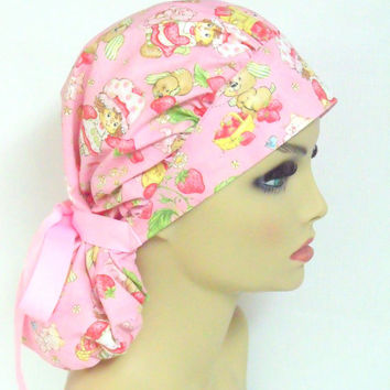 Bouffant Women's Surgical Scrub Cap Pretty in  Pink and Strawberries