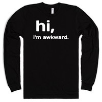 Hi I'm awkward long sleeve tee t shirt-Unisex Black T-Shirt