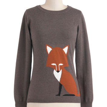 Just the Fox, Ma'am Sweater | Mod Retro Vintage Sweaters | ModCloth.com