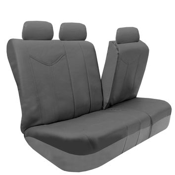 PU Leather Airbag Compatible Split Bench Seat Covers for Auto, Full set with Carpet Floor Mats, Gray