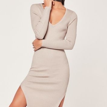 Missguided - V Neck Side Split Midi Dress Nude