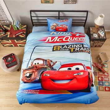 3d Lightning Mcqueen cars print bed sheet set 4/5pcs flannel warm kids boys home textile twin full queen size bedcover blue gift