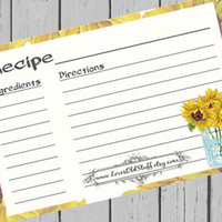 Sunflower Recipe Cards Mason Jar Recipe Card Country Kitchen 4x6 Printable Digital