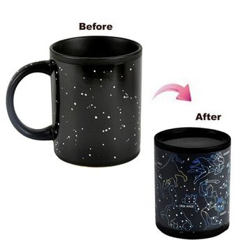 Mug Magic Cup Black Caneca Chameleon Coffee Cups 330ml Night Star Ceramic Espresso Cup Thermomug tasse cafe
