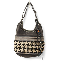 TOMS Black Woven Embroidered Wanderer Bucket