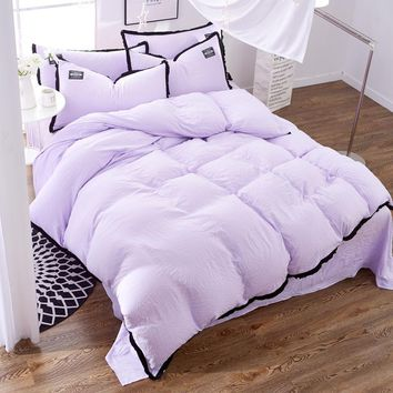 Brief Duvet Cover Set Candy Color purple washable wrinkle Queen Bedding Sets Princess Blanket Cover Bed Linen roupa de cama
