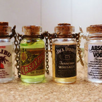 Alcohol Drink Bottle necklaces, funky and unique :)