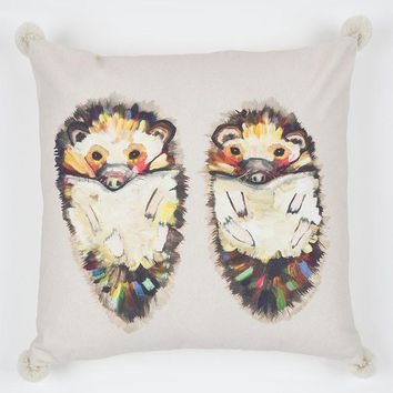 Hedgehog Duo On Soft Gray Pillow
