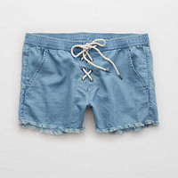 Aerie Lace-Up Chambray Short , Blue