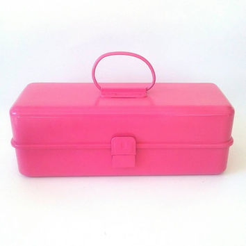 Pink Tool Box Makeup Case Storage Box Vintage Fishing Tackle Fuchsia Girls Room Barbie Storage Toy Box Vanity Tray Essential Oil Case Travel