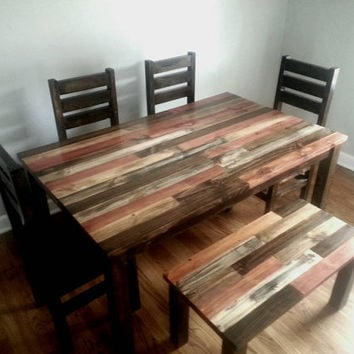 Rustic Dining Table Room Kitchen Reclaimed Wood Dinin