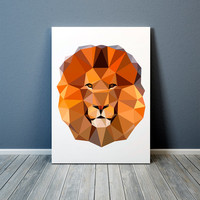 Geometric art Lion poster Wall decor Animal print TO365-1