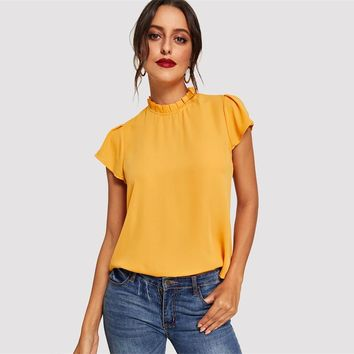 Elegant Butterfly Sleeve Blouse Women Ruched Stand Collar Solid Blouse Casual Keyhole Back Button Blouses