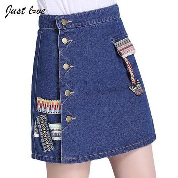 LMF78W 2017 Summer New Fashion A-line  Short Jeans Skirt Women Faldas Midi Denim Skirts High Waist  Flower Embroidered Button Skirt