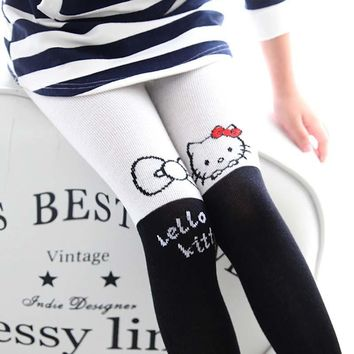 2017 Spring Baby Girl Hello Kitty Pattern Tights Cotton Bow Love Tights For Girls Tights Hello Kitty Pattern Pantyhose