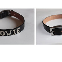 David 'Bowie' Studded Silver Nickle Plated Letters Black leather Choker Punk Buckle Necklace