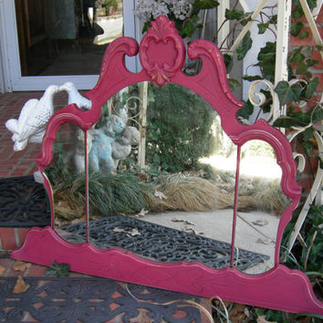 Gorgeous Hot Pink Rose Triple Mirror Chic Crown Shabby Ghosty Spots Silvering