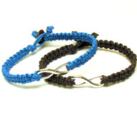 Infinity Bracelets Set of Two, Bright Blue and Dark Brown Macrame Hemp Jewelry, Made to Order