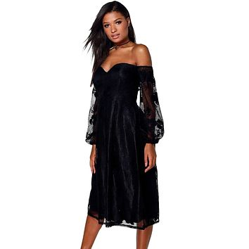 Black Bardot Embroidered Gauze Party Dress