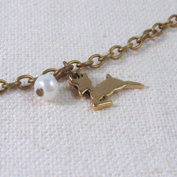Little Deer Bracelet, Kawaii Bronze, Ivory Pearl, Dainty Animal Jewelry, Cute Petite Bracelet