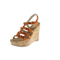 KORS Michael Kors Womens Kaida Leather Studded Wedges
