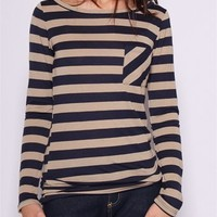 Striped Tee Long - Navy at Lucky 21 Lucky 21