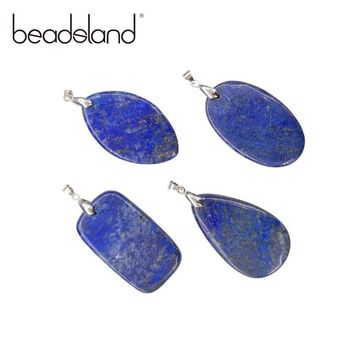 Beadsland Lapis Lazuli Pendant Natural Stone Semiprecious Stone GEM pendant DIY Necklace Size 50*30mm Model 38528