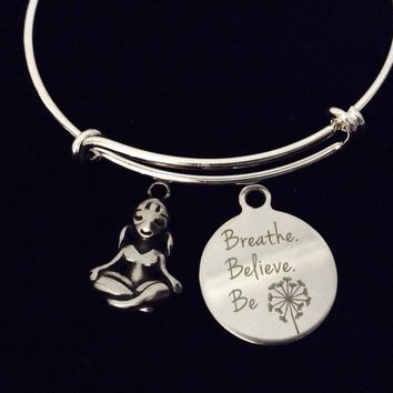Yoga Girl Breathe Believe Be Adjustable Bracelet Expandable Silver Charm Bangle Gift Om Lotus Pose Yogi Gift