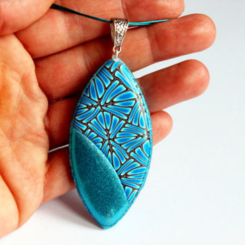 Unique polymer clay necklace, blue and white polymer clay jewelry, unique hand-made necklace