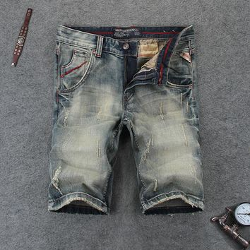 Vintage Retro Design Men Jeans Shorts Summer High Quality Denim Destroyed Ripped Jeans Men Shorts Fashion Street Man Shorts