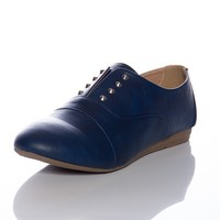 Slippery Slope Slip on Oxford Flats - Navy from Forever Link at Lucky 21
