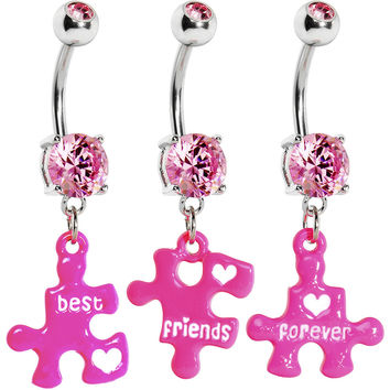 Pink Gem Triple Puzzle Piece Best Friends Forever Belly Ring Set