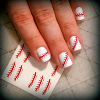 Baseball Stitch Nail Design / Baseball Nail Art (4 nail sets included= 48 designs)