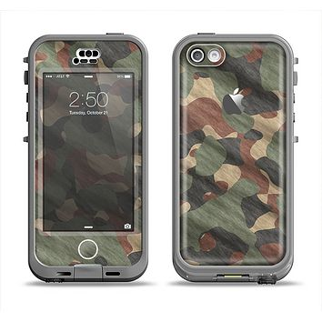 The Traditional Camouflage Fabric Pattern Apple iPhone 5c LifeProof Nuud Case Skin Set