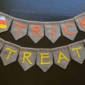 Trick or Treat Banner for Halloween / Burlap and Felt Handmade by FeistyFarmersWife