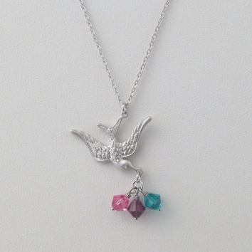 Personal, Birthstone, Bird, Silver, Necklace, Custom, Birthstone, Family, Necklace, Birthday, Friends, Sister, Family, Gift, Jewelry