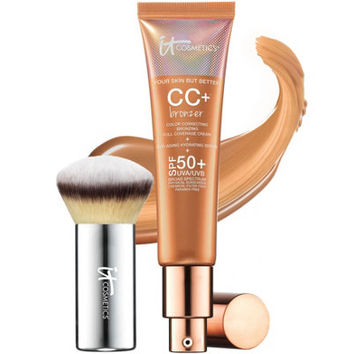 IT Cosmetics CC Cream Physical SPF 50 Bronzer with Luxe Buki Brush — QVC.com