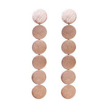 Round Disc Drop Earrings