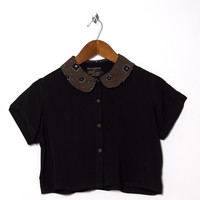 Motel Vintage Andy Collared Crop Blouse 0113 ONE SIZE