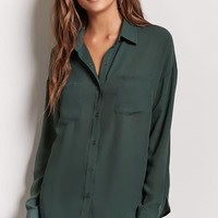 Chiffon Button-Front Shirt