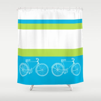 "Bicycle Shower Curtain - ""Ride With Me"" Turquoise, lime green, white,  bike,  unique, clean, crisp look,  travel decor, bath, home"