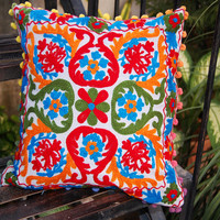 Pillow Cases Indian Style Embroidered Suzani Sofa Cushion Covers High Fashion Handmade Christmas Decorative Pillow Covers Colorful Pom Poms