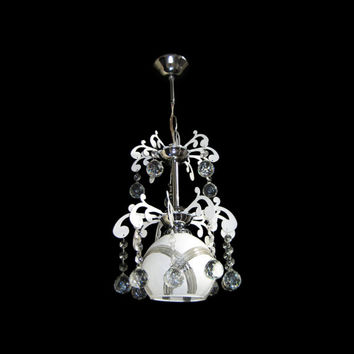 King Crystal Ceiling Light White Glass Chandelier Hanging Pendant Lamp