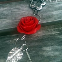 Red Rose Asymmetrically Necklace Paired With Silver by By5Jewelry